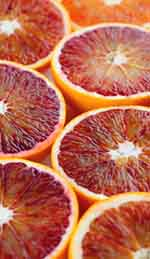 Fresh blood orange halves